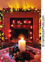 Christmas decorations and candle. - Coal effect electric...