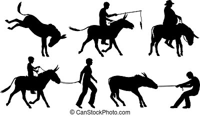 Donkeys - Set of editable vector silhouettes of donkeys and...