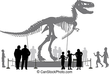 Dinosaur museum - Editable vector silhouettes of people...