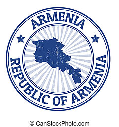 Armenia stamp - Grunge rubber stamp with the name and map of...