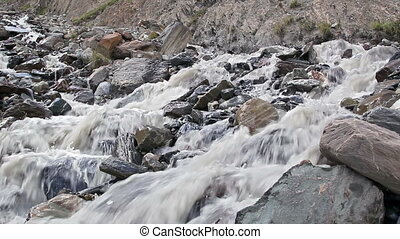 White mountain river. Kirgystan, central Tien Shan, Valley...