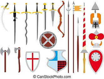 large set of medieval weapons - large primitive set of...