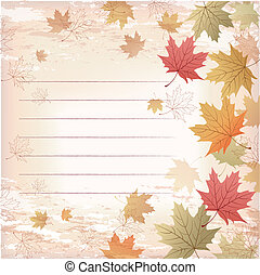 Ruled Maple leaves background - Japanese pattern. File...