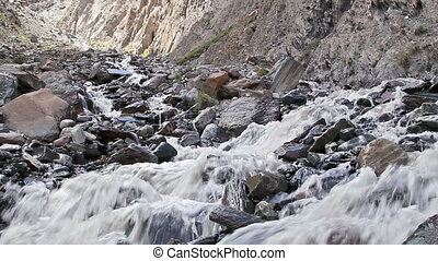 White mountain river Kirgystan, central Tien Shan, Valley...