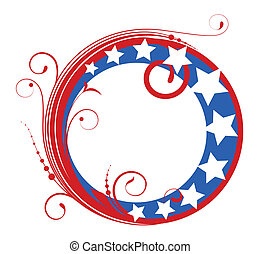 circular design frame - 4th of July