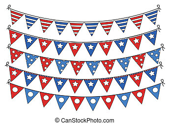 4th of july flag banners vector Illustration