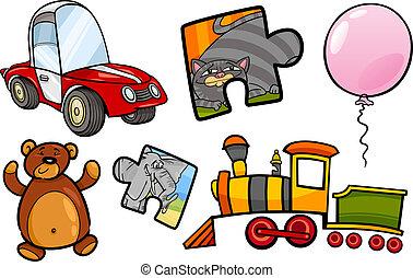 toys objects cartoon illustration set - Cartoon Illustration...