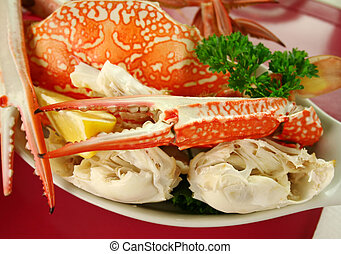 Fresh Cracked Sand Crab - Fresh cracked sand crab with lemon...