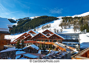 Mountain ski resort with snow in winter, Meribel, Alps,...