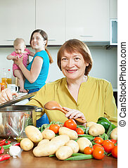 Mature woman for adult daughter with baby