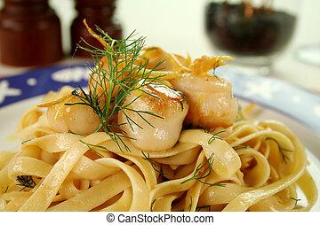 Fettucini With Scallpos - Fettucini with caramelized lemon...