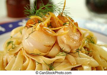 Fettucini With Scallops - Fettucini with caramelized lemon...