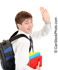 Student with Knapsack Wave Goodbye - Happy Student with...