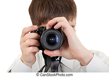 Person Take a Picture with a Camera - Young Man Take a...