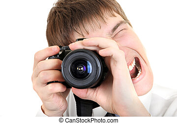 Person Take a Picture with a Camera - Excited Young Man Take...
