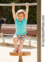 Laughing child  in  summer day