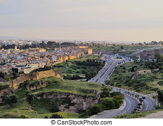 Cityscape of Fes, Morocco - View of the old medina in Fez...