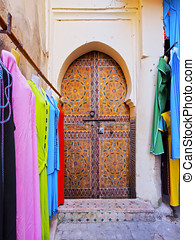 Door in Fes, Morocco - Typical moroccan door in the old...