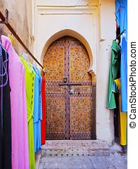 Door in Fes, Morocco - Typical moroccan door in the old...