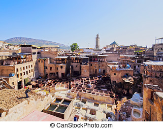 Tannery in Fes, Morocco - Famous Tannery inside the old...