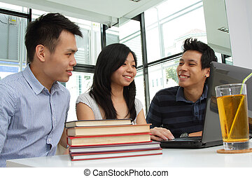 College students - A group of Asian college students...