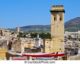 Fes Cityscape, Morocco - View of the roofs and minarets in...