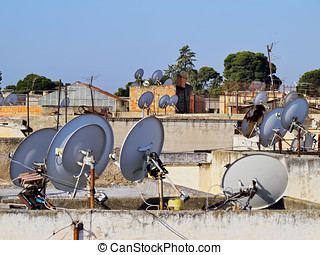 Satellite Dishes in Fes, Morocco - Satellite Dishes on the...