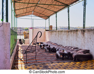 Moroccan Terrace - Typical Moroccan Roof Terrace in the old...
