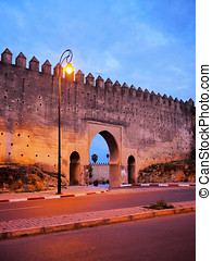 Walls of Fes, Morocco - Night view of the walls of the old...