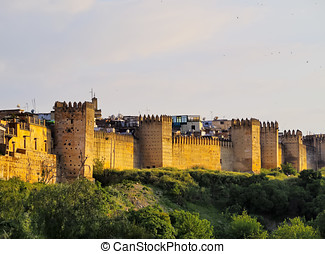 Walls of Fes, Morocco - Walls of the old medina of Fes,...