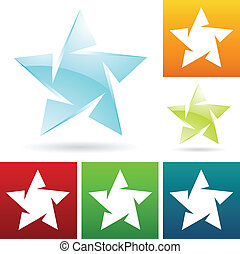 ice star icons - eps vector illustration of ice star icons