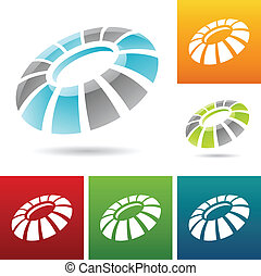 revolving round abstract icons