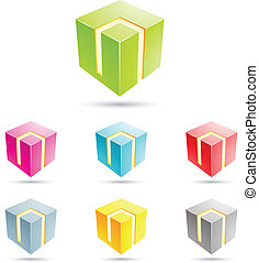 colorful cube icons - eps vector illustration of colorful...