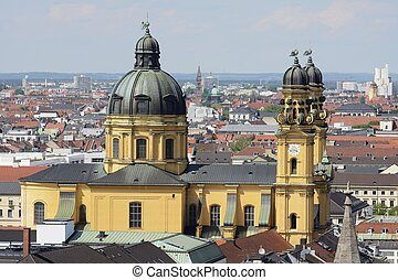 Theatine Church - Aerial view over Munich and the baroque...