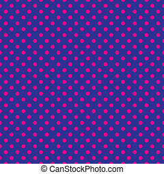 Pink polka dots on blue background - Seamless vector...