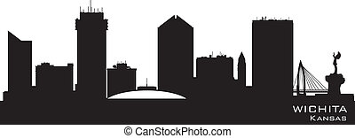 Wichita Kansas city skyline vector silhouette - Wichita...