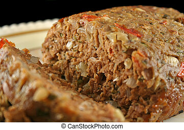 Lamb Meatloaf 2 - Freshly baked homestyle lamb meatloaf just...
