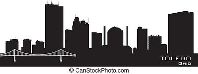 Toledo Ohio city skyline vector silhouette - Toledo Ohio...