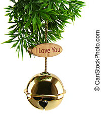 Love Xmas Bell - Christmas bell hanging from foliage with...