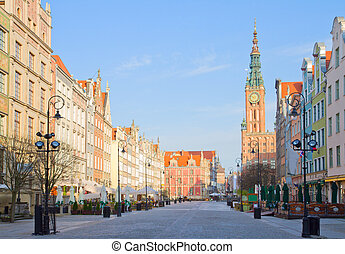 Old town of Gdansk with city hall