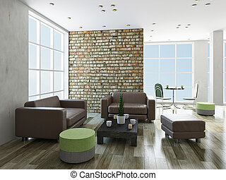 Livingroom with furniture - Livingroom with leather chairs...