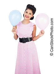alegre, cabelo, pretas, segurando, modelo, balões