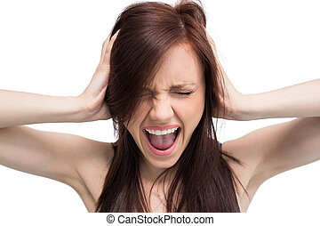 Close up on exasperated brunette screaming - Close up on...
