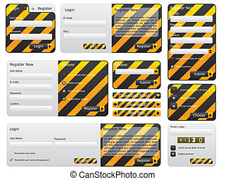 Warning and hazard website form set - Warning and hazard...