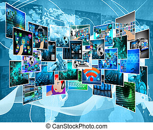 Internet cyberspace - Abstract view of the many different...