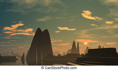 Rising (UFO) over the city of alien - The city from pyramids...
