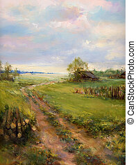 landscape painting - rural landscape painting - oil paints...