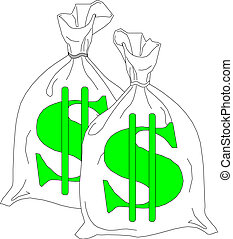 Money bags with dollar sign - Money bag with dollar sign...