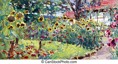summer motif painting, landscape in lower saxony - oil...