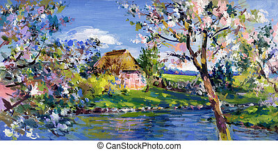 spring motif painting, landscape in lower saxony - oil...